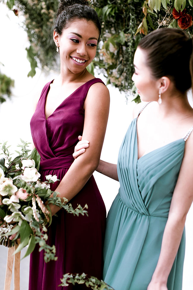 Modern Celestial Wedding Inspired By Davids Bridal Jewel Tone Bridesmaid Dresses   Photograph by Jacqueline Patton Photography