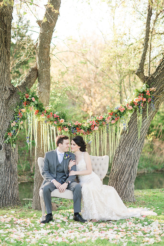 Whimsical Spring Infused Texas Wedding At The Creek Haus | Photograph by Angela King Photo  See the full story at  https://storyboardwedding.com/whimsical-spring-texas-wedding-creek-haus/