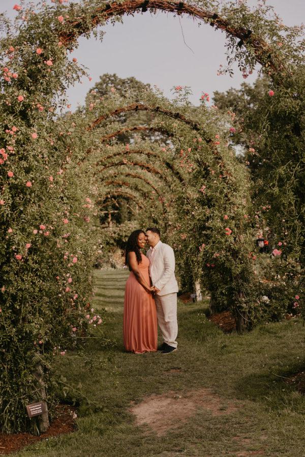 Dreamy Vintage Rose Garden Engagement Session 01