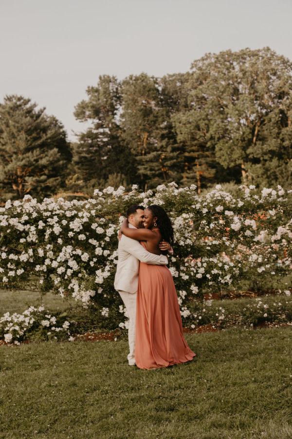 Dreamy Vintage Rose Garden Engagement Session 08