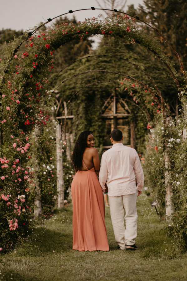 Dreamy Vintage Rose Garden Engagement Session 11