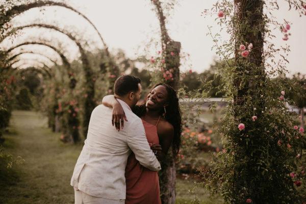 Dreamy Vintage Rose Garden Engagement Session 15
